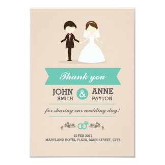Cute Couple Wedding Thank You Card
