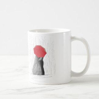 Cute Couple with Red Umbrella Art Mug