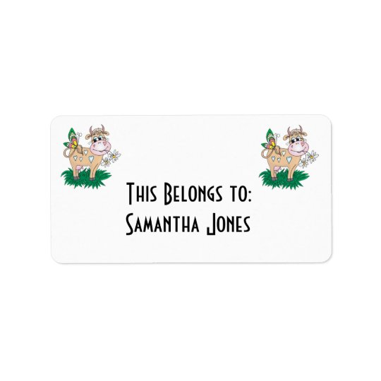 cute cow and butterfly address label