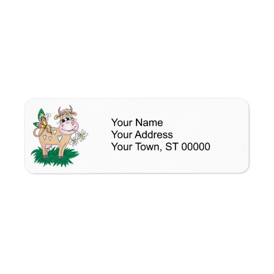 cute cow and butterfly return address label