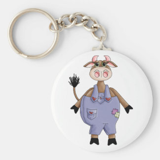 Cute Cow Basic Round Button Key Ring