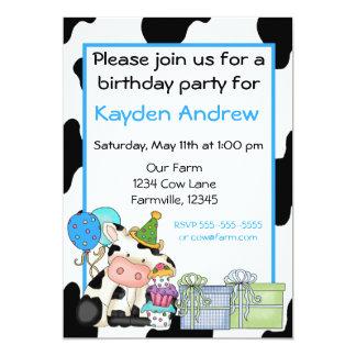 Cute cow boys birthday invitation