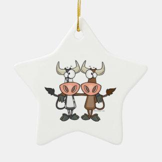 cute cow buddies friendship cartoon ornaments