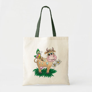 Cute Cow & Butterfly Budget Tote Bag