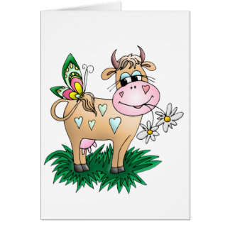 Cute Cow & Butterfly Greeting Cards
