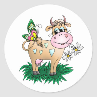 Cute Cow & Butterfly Classic Round Sticker