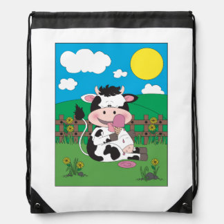 Cute Cow Cartoon Drawstring Bag