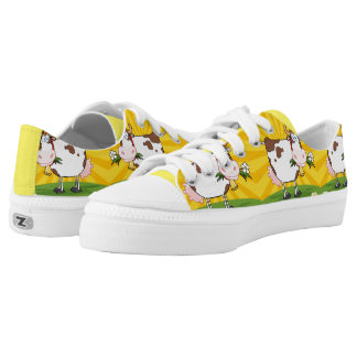 Cute Cow Cartoon Pattern Printed Shoes