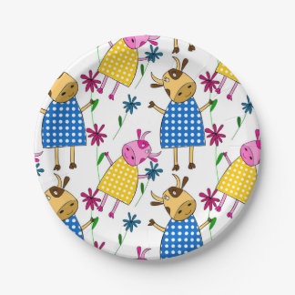 Cute cow character themed kid's 7 inch paper plate