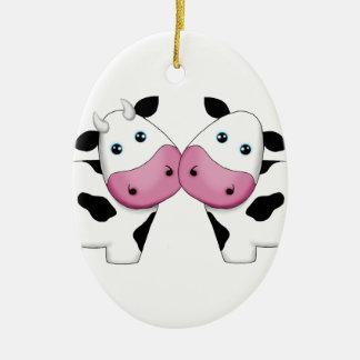 Cute Cow Couple Ceramic Ornament