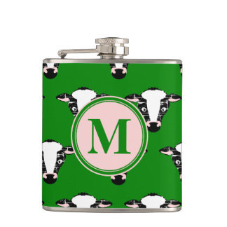 Cute Cow Face Monogram Hip Flask
