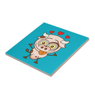 Cute cow falling madly in love small square tile