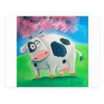 Cute cow folk art painting Gordon Bruce Postcard