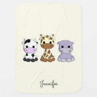 Cute cow giraffe hippo cartoon name baby blanket