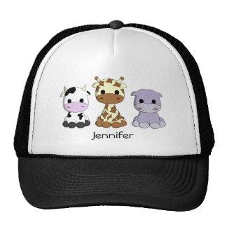 Cute cow giraffe hippo cartoon name hat