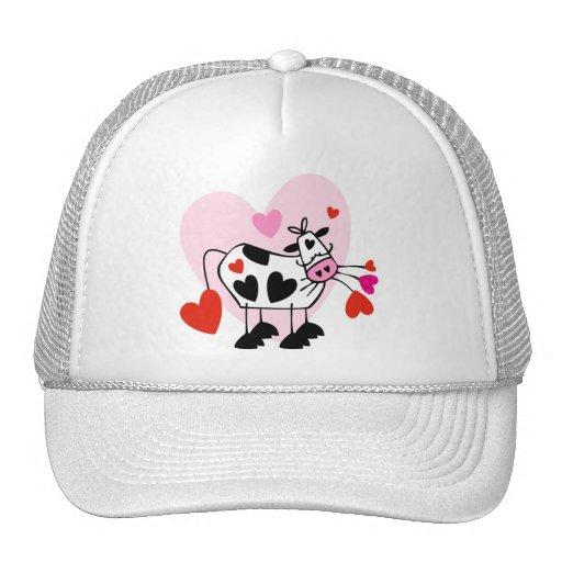 Cute cow in love trucker hats