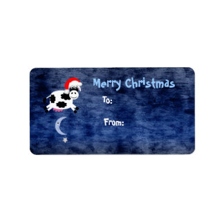 Cute Cow Jumped Over The Moon Christmas Address Label