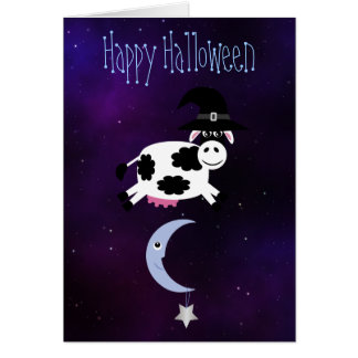 Cute Cow Jumped Over the Moon Halloween Card