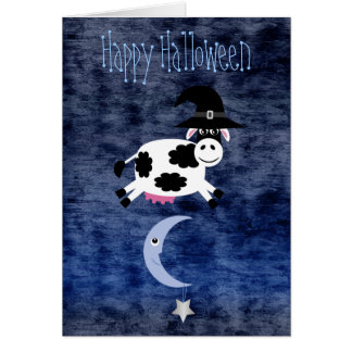 Cute Cow Jumped Over the Moon Halloween Greeting Card