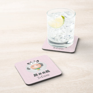 Cute Cow Moo And Pastel Pink Gingham Plaid Pattern Coaster