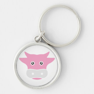 cute cow Silver-Colored round key ring