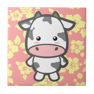 Cute Cow Small Square Tile
