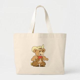 Cute Cowboy Rancher Bear Jumbo Tote Bag