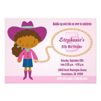 Cute cowgirl lasso girl s birthday party invite