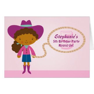 Cute cowgirl lasso girl's birthday party invite greeting cards