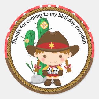 Cute Cowgirl Sheriff Birthday Classic Round Sticker