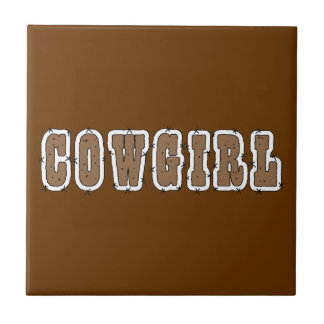 Cute Cowgirl Western - Choose Background Color Small Square Tile