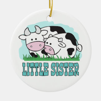 Cute Cows Little Sister Round Ceramic Decoration