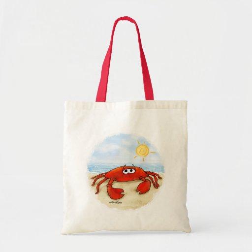 Cute crab on beach bag