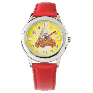 cute crab watch cartoon yellow and red