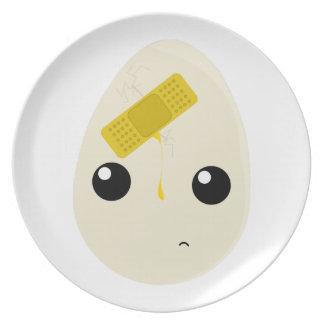 Cute Cracked Egg Character Dinner Plate