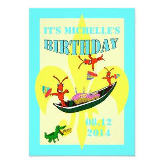 Cute Crawfish Alligator Pirogue Birthday Card