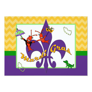Cute Crawfish Fleur de Lis Mardi Gras 5x7 Paper Invitation Card