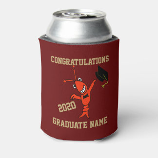 Cute Crawfish Graduation Can Cooler