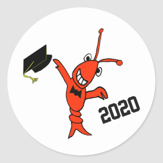Cute Crawfish Graduation Classic Round Sticker
