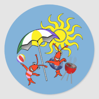 Cute Crawfish Lobster Summer Classic Round Sticker