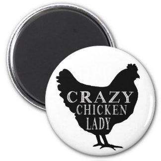 Cute Crazy Chicken Lady 6 Cm Round Magnet