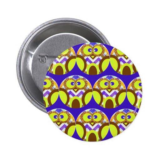 Cute Crazy Owl Colorful Chevron Blue Yellow Brown Button