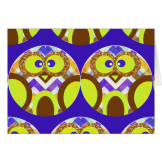 Cute Crazy Owl Colorful Chevron Blue Yellow Brown Card