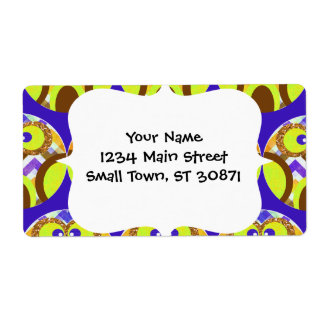Cute Crazy Owl Colorful Chevron Blue Yellow Brown Shipping Label