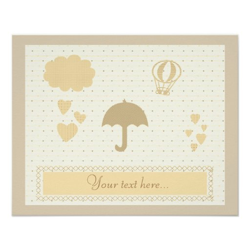 Cute Cream Beige Baby Shower Poster