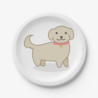Cute Cream Dog Illustration, Canine Paper Plate