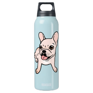 Cute cream Frenchie is ready to play Insulated Water Bottle