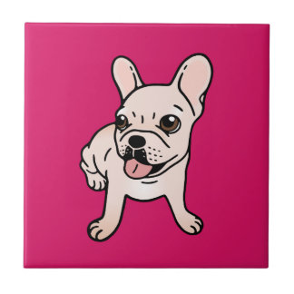 Cute cream Frenchie is ready to play Tile