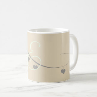 Cute Cream Grey Hearts Garland Monogrammed Mug