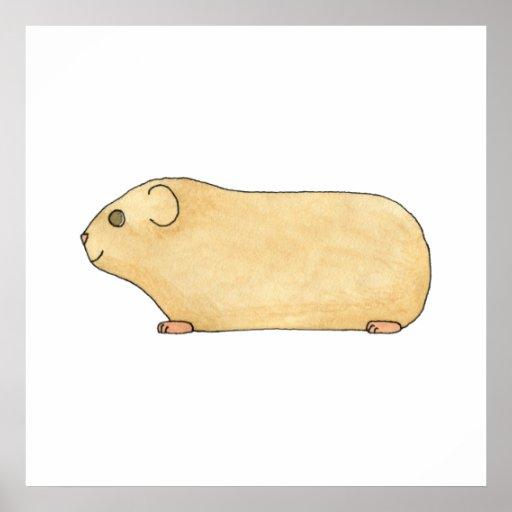 Cute Cream Guinea Pig. Print
